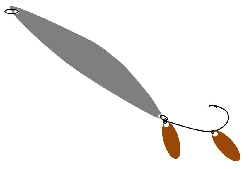 Доработка блесны на щуку или окуня, коричневое оперение на блесне, фото