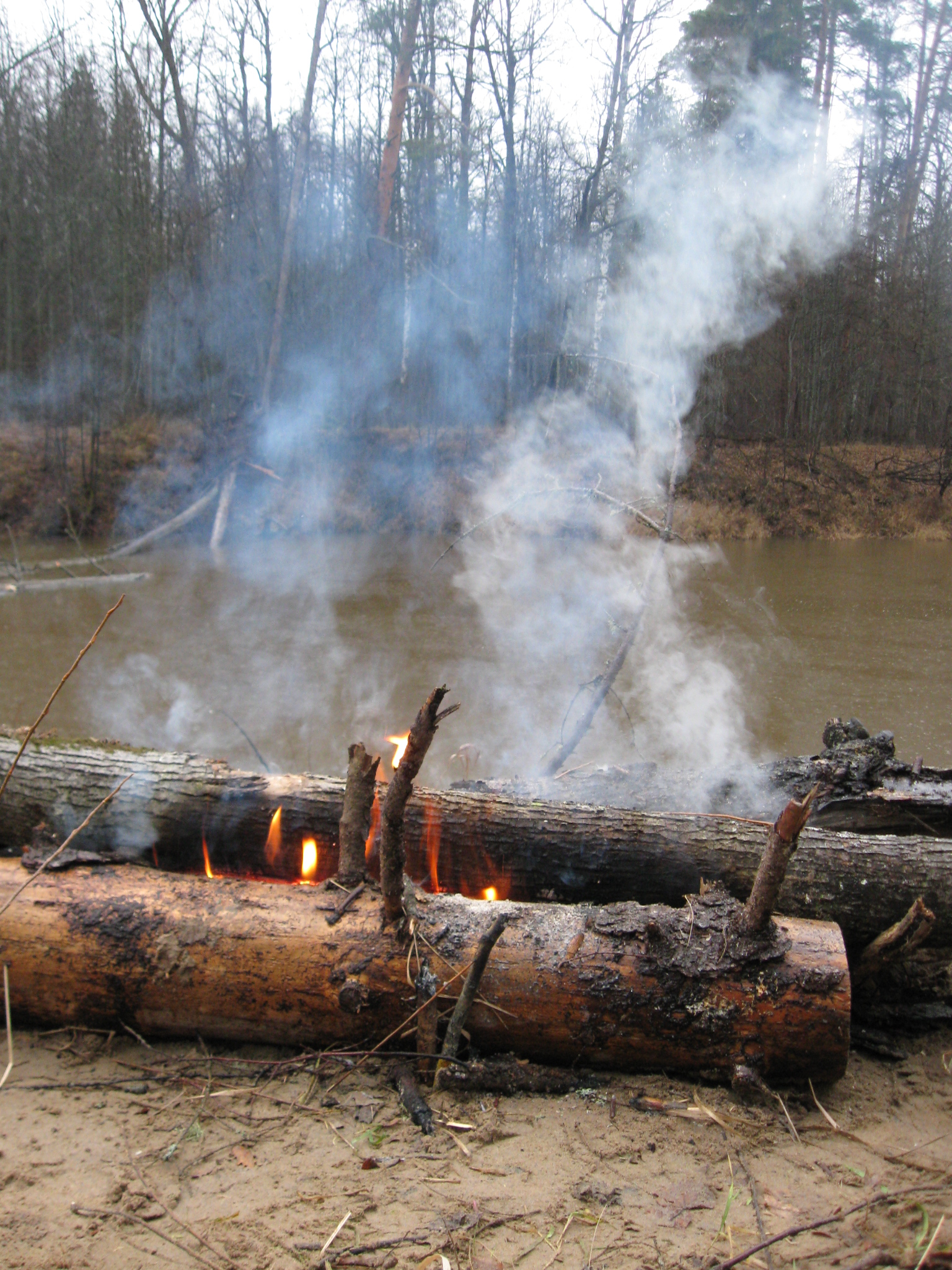 Налимья пора, костёр из брёвен на берегу реки, фото